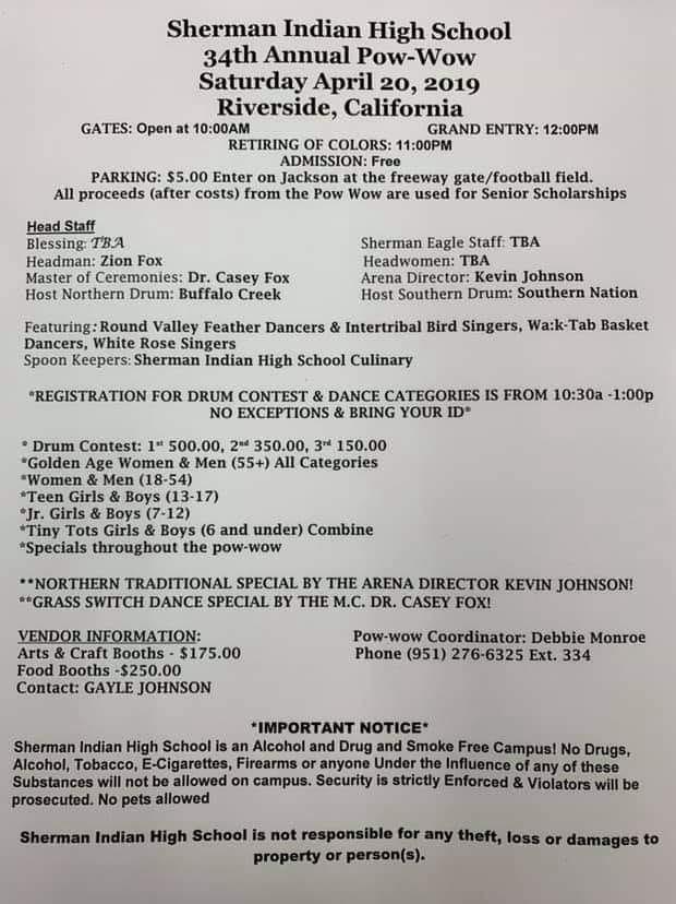 Sherman Indian High School 34th Annual Powwow – SCTCA